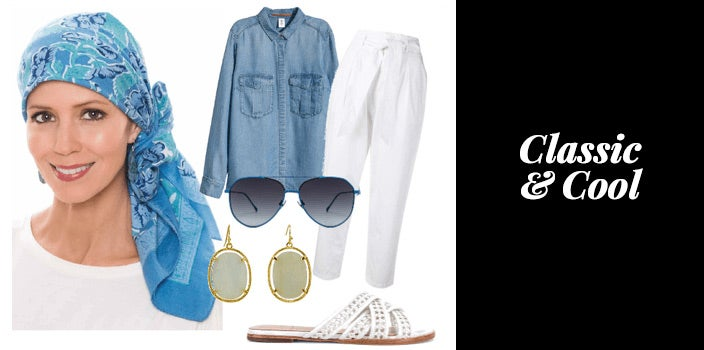 Blue and green woodblock head scarf, denim chambrey shirt, white linen pants, white slide sandals, sunglasses, and green natural stone earrings.