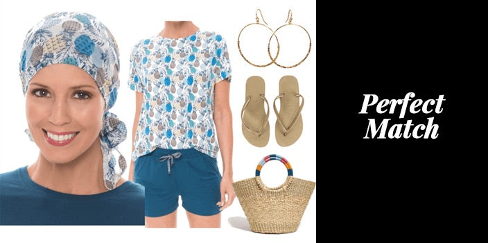 Pineapple print pretied head scarf with matching pineapple print t-shirt, teal shorts, gold hoop earrings, flip flops, and a natural beach bag.