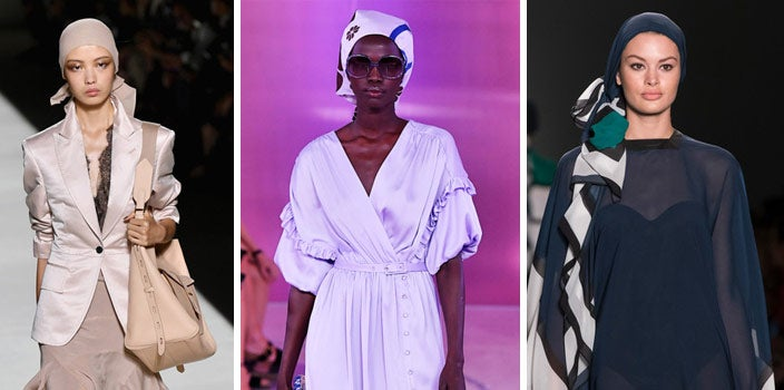 Head Scarves on the Runway - Tom Ford, Kate Spade, and Zang Toi Spring Runway looks.